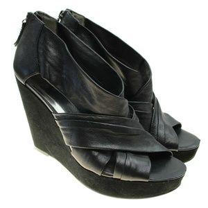 Nine West Black Leather Criss Cros Wedge Heels